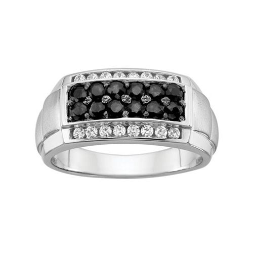 Hubby's new ring | Men's Black and White Sapphire Fashion Ring
