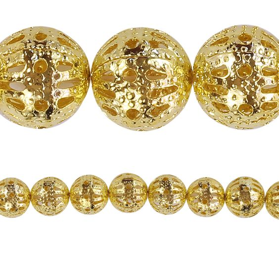 """Bead Gallery® Gold Filigree Round Beads, 8mm - Item # 10429038 - $3.99    Ideal for all your jewelry making and beading projects. Use these gold filigree round beads to create your own personal designs. These beads are perfect to bring bright gold color and shine to your jewelry piece.     Details: Gold finish; 8 mm filigree beads; 9"""" (23 cm) string"""