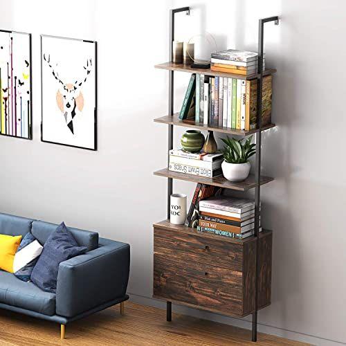 New Uvii Industrial Ladder Shelf With Drawers 3 Tier Open Shelf Storage Rack Shelves Ladder Bookshelf Plant Flower St Wood Storage Rack Shelves Drawer Shelves
