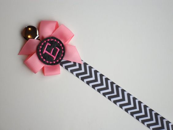 personalized pacifier clip pink and gray chevron monogram baby girl soothie personalized baby