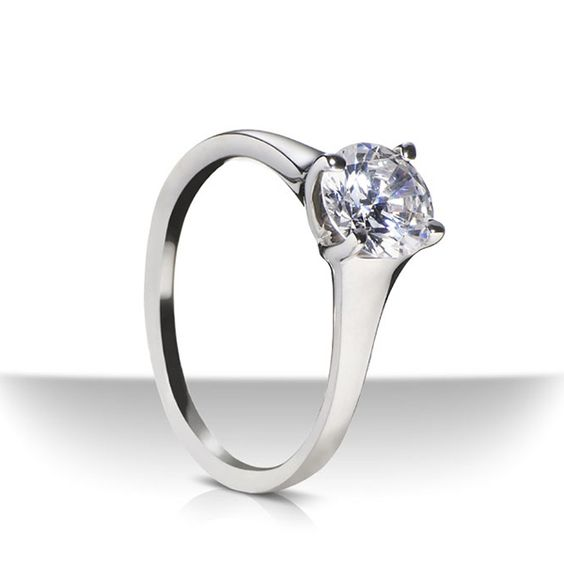 Designer: SholdtStyle: Low Curved Prong Fremont Solitaire Engagement Ring MountingMetal: Platinum, 2.5mm - 4mm wide, high polishStone: cubic zirconia ...
