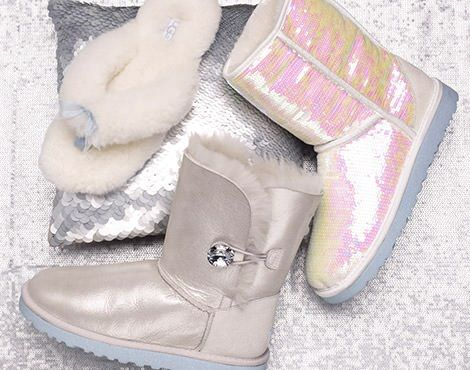 """UGG introduces the """"I DO"""" Wedding Collection, featured styles: Classic Sparkles I Do!, Bailey Button I Do!, and the Fluff Flip Flop I Do!"""