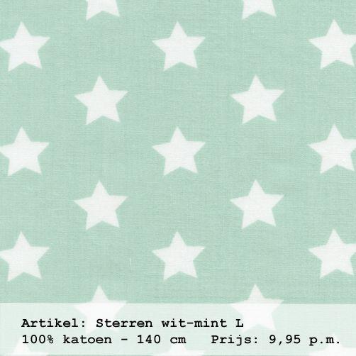 Gordijnstof in de kleur mint met witte sterren uit de for Gordijnen babykamer mintgroen