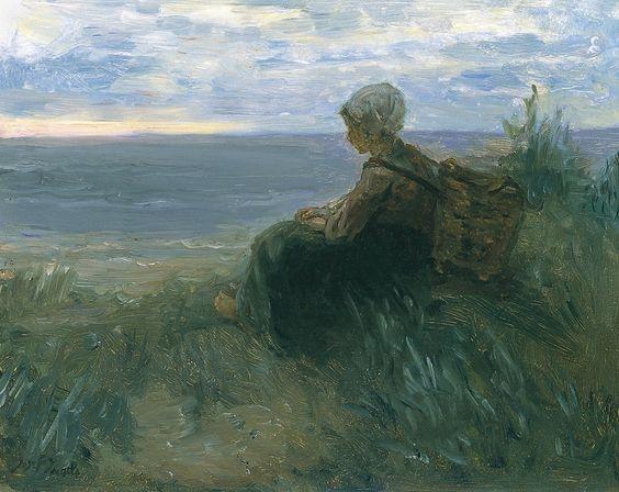 Jozef Israëls. Mujer de un pescador oteando el horizonte sobre una duna, c. 1900