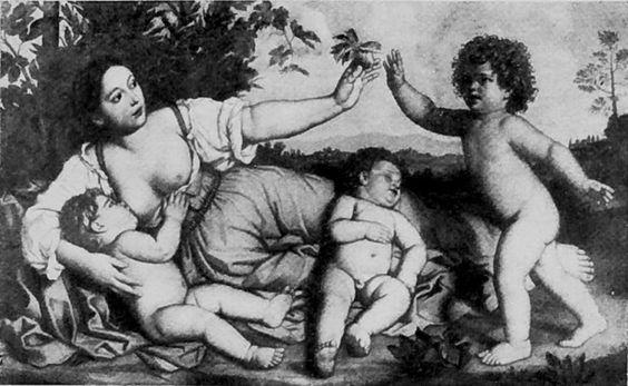Charité Ecole de Domenichino, 1601-1641  Oeuvre détruite en 1945  Huile sur toile, environ 119 x 197 cm  Cliché en noir et blanc Sterling and Francine Clark Art Institute, Williamstown, MA, Etats-Unis d'Amérique