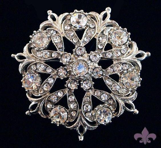 Rhinestone Brooch Pin - Rhinestone Crystal Brooch - Rhinestone Brooch - Old World Brooch. $7.95, via Etsy.