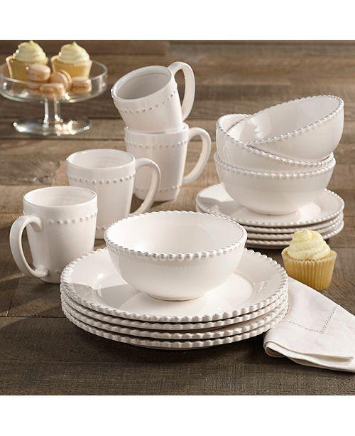 American Atelier Bianca Bead Round 16pc Set Dinnerware