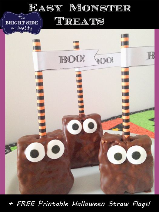 "Easy Halloween Monster Chocolate and Caramel Treats PLUS Free Printable ""Boo!"" Straw Flags"