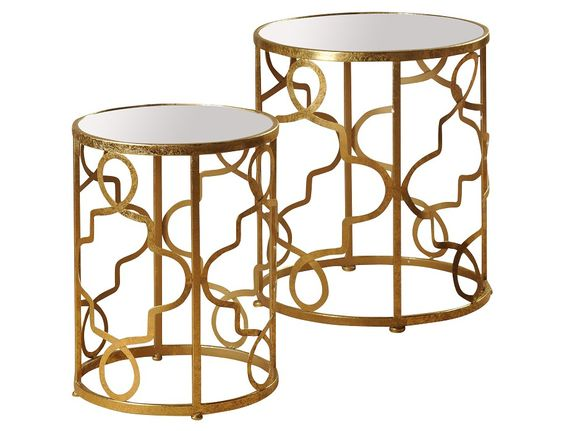 Oro Collection - Set of 2 Gold Accent Tables