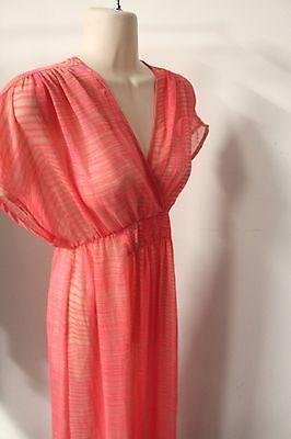 H&M Long Maxi Dress - Pink Stripe Print - Sheer Chiffon Fabric