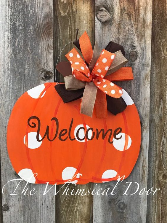 Wood Pumpkin Monogramed Pumpkin Fall Door Hanger Thanksgiving