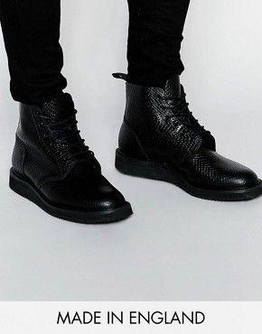 ASOS – Derby-Stiefel aus Leder in Schlangenhautoptik, hergestellt in England