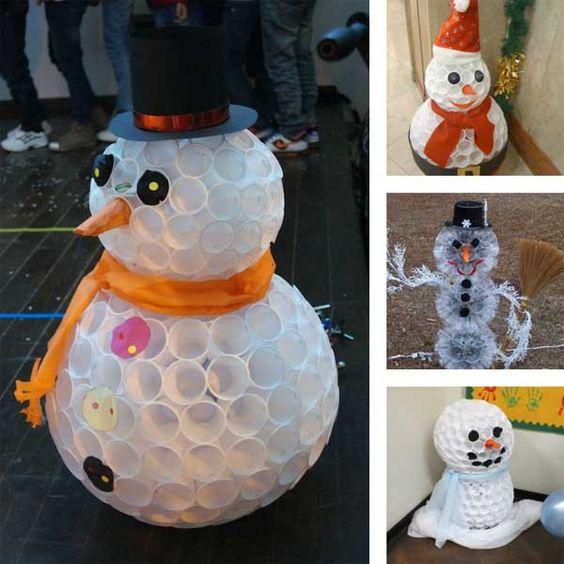 L'idée déco du samedi : un bonhomme de neige avec des gobelets en plastique
