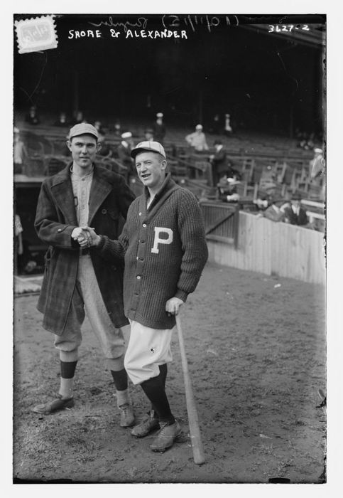 ernie shore and grover alexander, 1915. what a sweater.