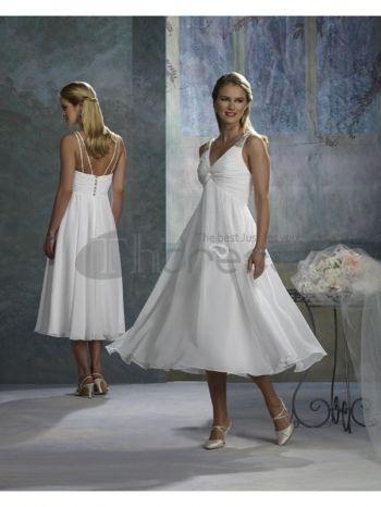 vastgebonden witte korte trouwjurken met V-hals en thee lengte