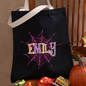 This Personalized Halloween Trick or Treat Bag is so cute! I love the spiderweb design! They have colors for boys and girls - this is great because they'll be able to use it year after year! #Halloween #TrickOrTreat