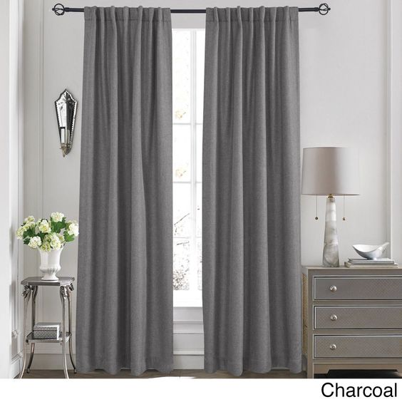 "Ellington Solid Textured Thermal Blackout Window Curtain Backtab/Rod Pocket Panel Pair (54"" x 95"" - Charcoal (Grey)), Size 54 x 95"