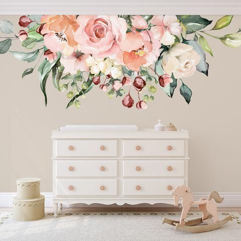 Pink And Gold Flower Wall Decals Floral Wall Decal Roses In