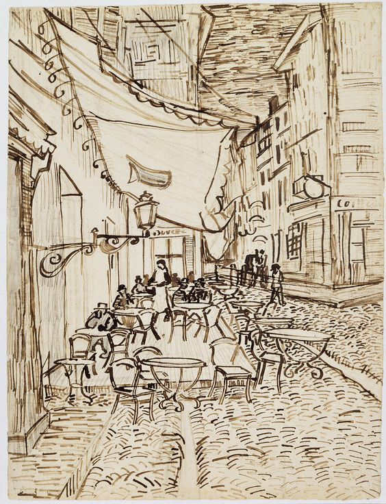 Vincent van Gogh. Café Terrace at Night. 1888. Reed pen and ink over pencil on laid paper