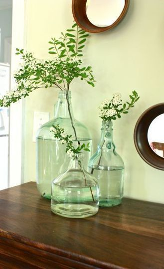 These glass jugs look really nice like this. I may have to accumulate some...: