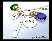 Monogram...Initial Necklace - Fashion - Love - Sterling Silver Jewelry - Wire Wrapped - Metal Stamping