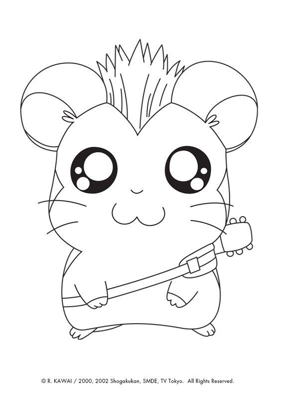 Dessin à colorier de Jingle dans hamtaro avec sa belle coiffure et sa guitare
