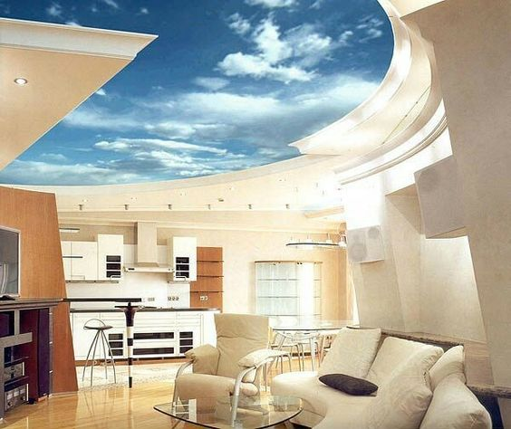 Cool room interior design idea. Beautiful sky ceiling