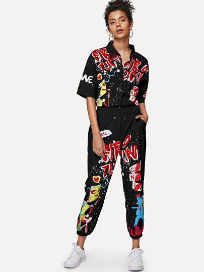 Graffiti Print Shirt Detail Jumpsuit -SheIn(Sheinside)