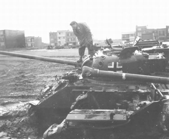 A  shot of a knocked out captured Firefly Ic or Vc, probably a captured Canadian Vc in Holland.