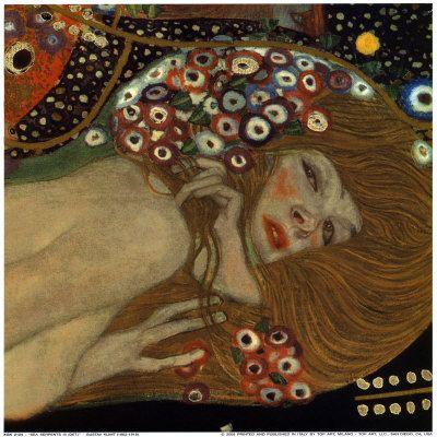 Klimt, Eau mouvante détail, 1862-1918, peintre symboliste autrichien, membre du mouvement Art nouveau de Vienne, son style privilégie la profusion des détails, richesse des décors et de la coloration, précision des portraits, et le thème de la femme dominatrice, femme fatale