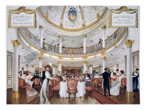 RMS Lusitania's first class dining saloon.: