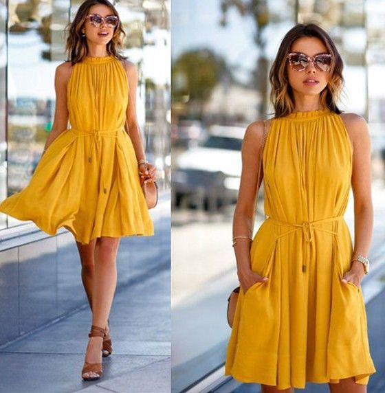 Orange Plain Draped Sashes Band Collar Sleeveless Above Knee Casual Fashion Dress - Midi Dresses - Dresses