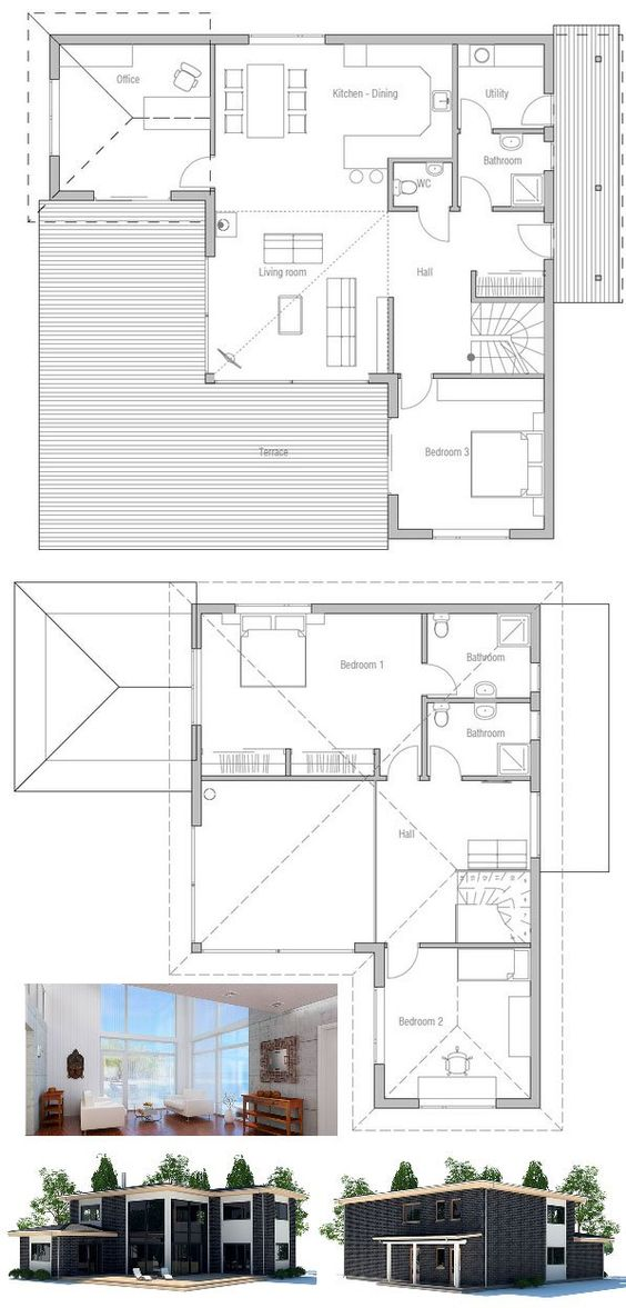 Small house plan with three bedrooms simple lines and shapes high ceiling in the living area - House plans high ceilings ...