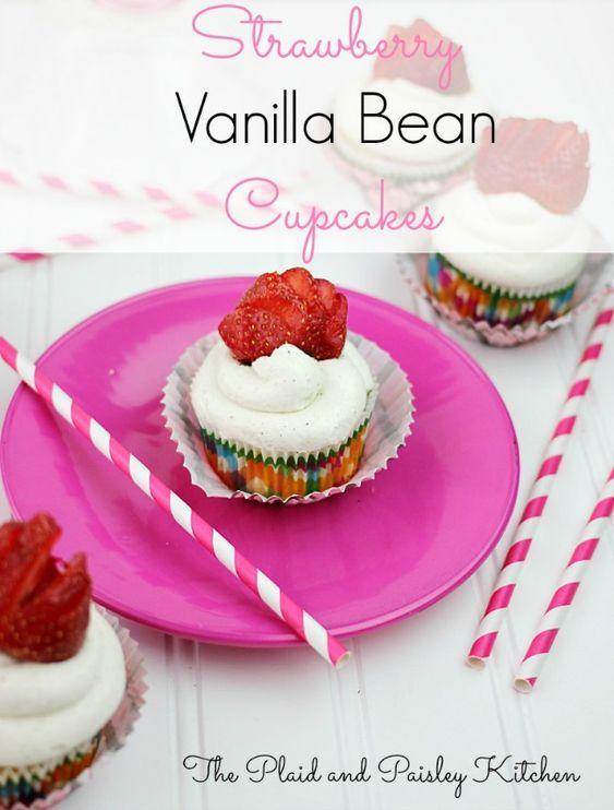 Strawberry Vanilla Bean Cupcakes | Recipe | Vanilla, Beans ...