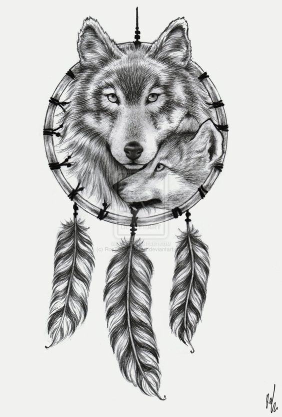 Wolf Dreamcatcher tattoo design by RozThompsonArt.deviantart.com on @deviantART