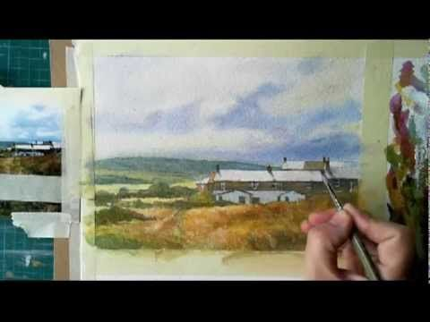 How to paint a watercolor landscape / Cowbar Cottages - Full demonstration by Robert Brindley - YouTube