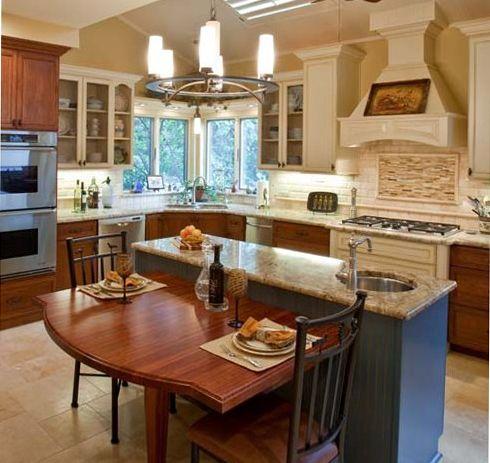 Island W Attached Kitchen Table Dream Kitchen