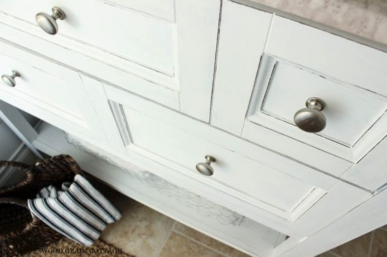 Powder Bathroom Vanity Makeover - The Wood Grain Cottage