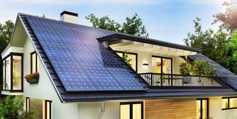 Solar Panels On The Gable Roof Of A Beautiful Modern Home Ad Gable Panels Solar R Solar Panels Architecture Beautiful Modern Homes Solar Panels Roof