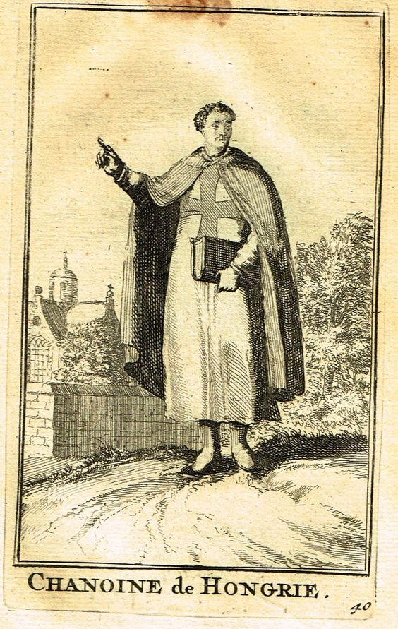 """Buonanni's Histoire du Clerge - """"CHANOINE DE HONGRIE"""" - Copper Engraving - 1716"""