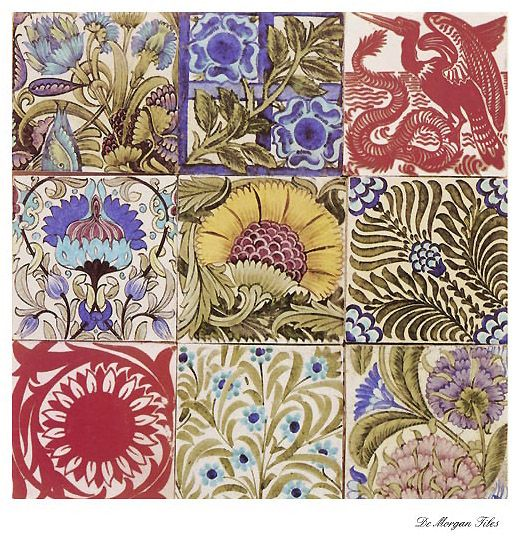 "De Morgan tile ~ William Morris #pattern #Morris - thinking this might be great printed small (on gloss paper) and use a 1"" punch"