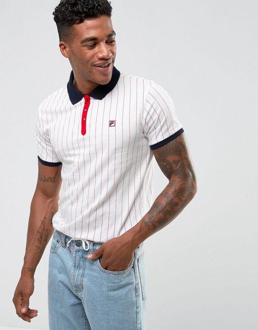Fila Vintage Striped Polo Shirt In White Men Shirts,fila