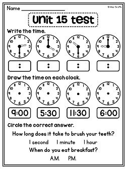 First Grade Math Unit 15 Telling Time | Activities, Assessment and ...