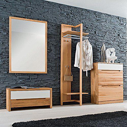 Design Garderobenset Eiche Massiv Garderobe Flurmobel Spiegel