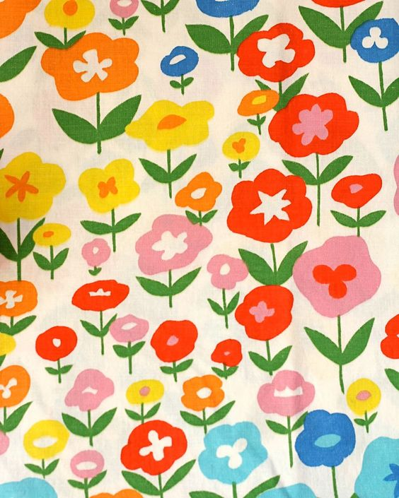 Vintage BLOOMCRAFT Fabric Valence- Posie Red Flower Print- 60s/70s ...