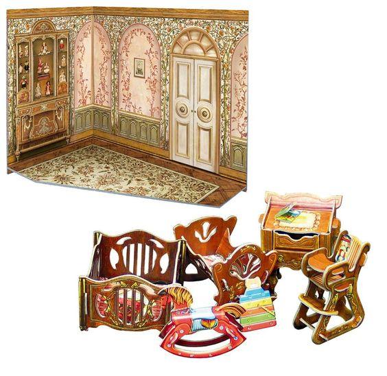 Doll 1:12 miniature set manege, cot, rocking horse,high chair, table /291-2,274 #UmBum