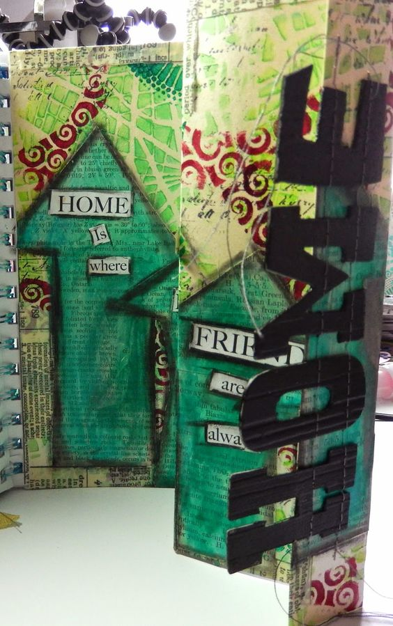 Craft Hoarders Anonymous challenge 9 Art Journal page with Stencil Girl Stencils by DT member Christy Butters