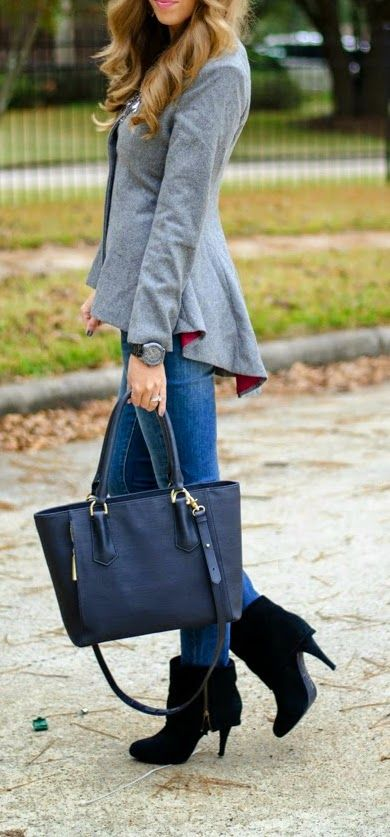 Grey Peplum Blazer Black Booties: