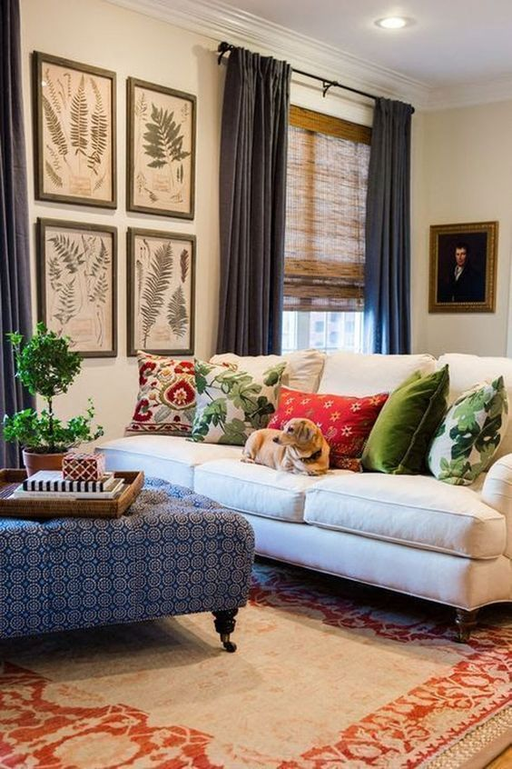Beautiful pillows, colorful decor decorating tips and tricks #Interiorlivingroom