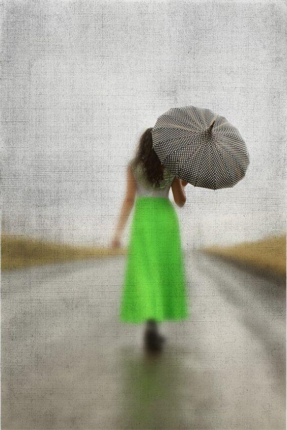 Modern Umbrella Art Rainy Day and Girl in by lucysnowephotography, $25.00: